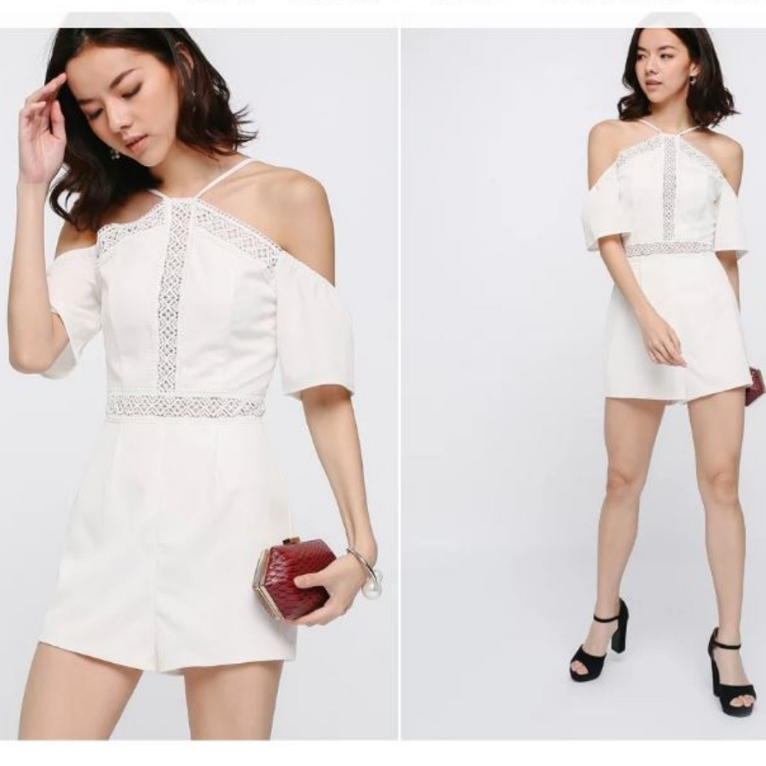 92a6f1c425 Hanania Eyelet Off Shoulder Playsuit XL White Love Bonito lovebonito ...