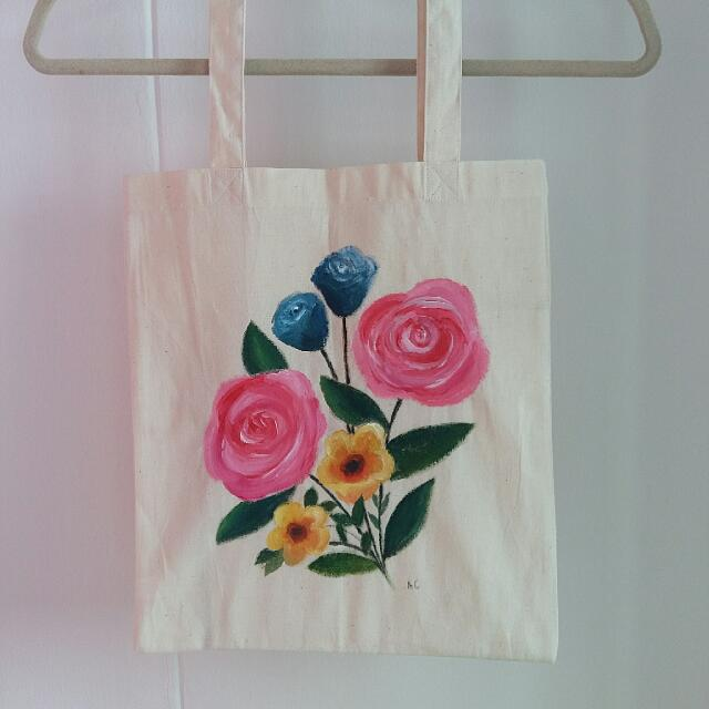 2213a4da1736 Handpainted Canvas Tote Bag Flower Bouquet Pink Blue Yellow, Women's ...