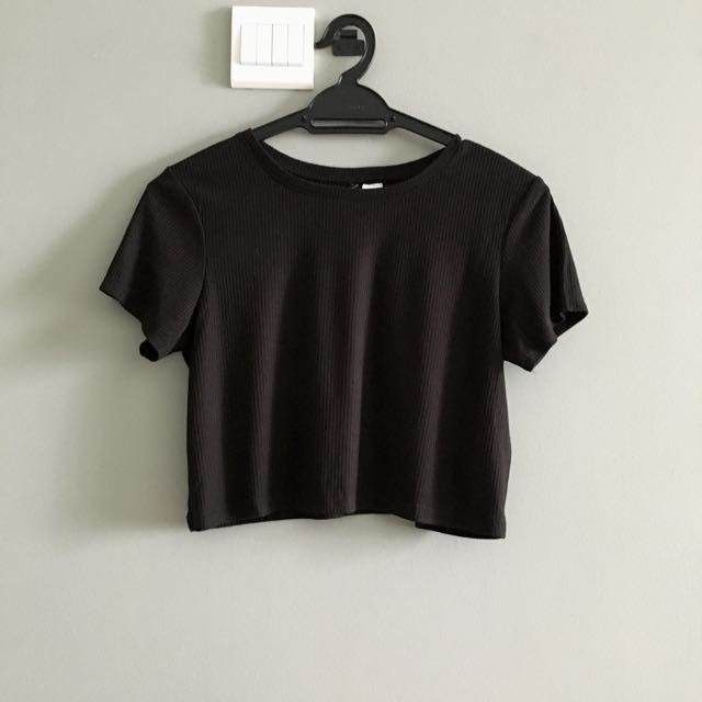 H&M Crop Black T Shirt Top