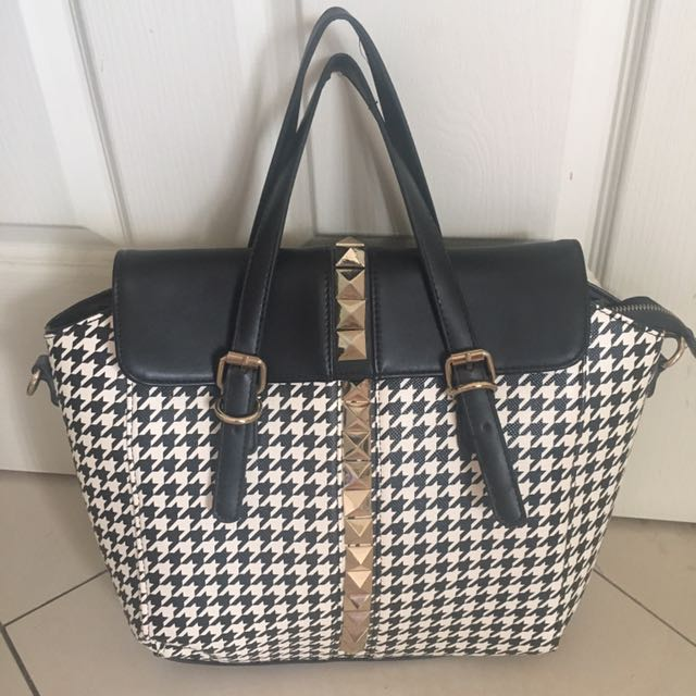 Houndstooth Studded Handbag
