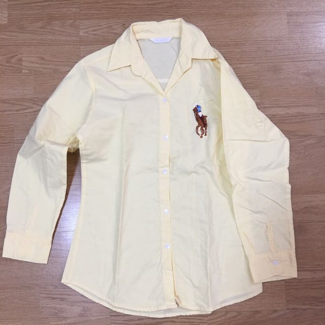 Inspired Polo Top In Pale Yellow