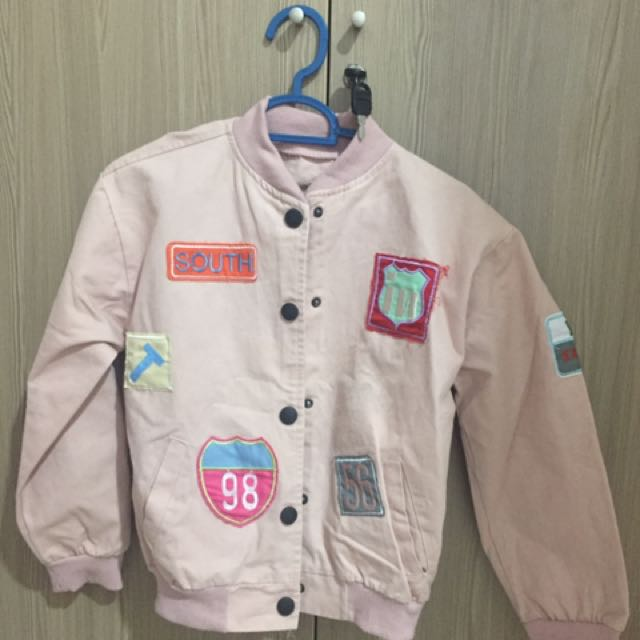 Jacket bomber patch soft pink