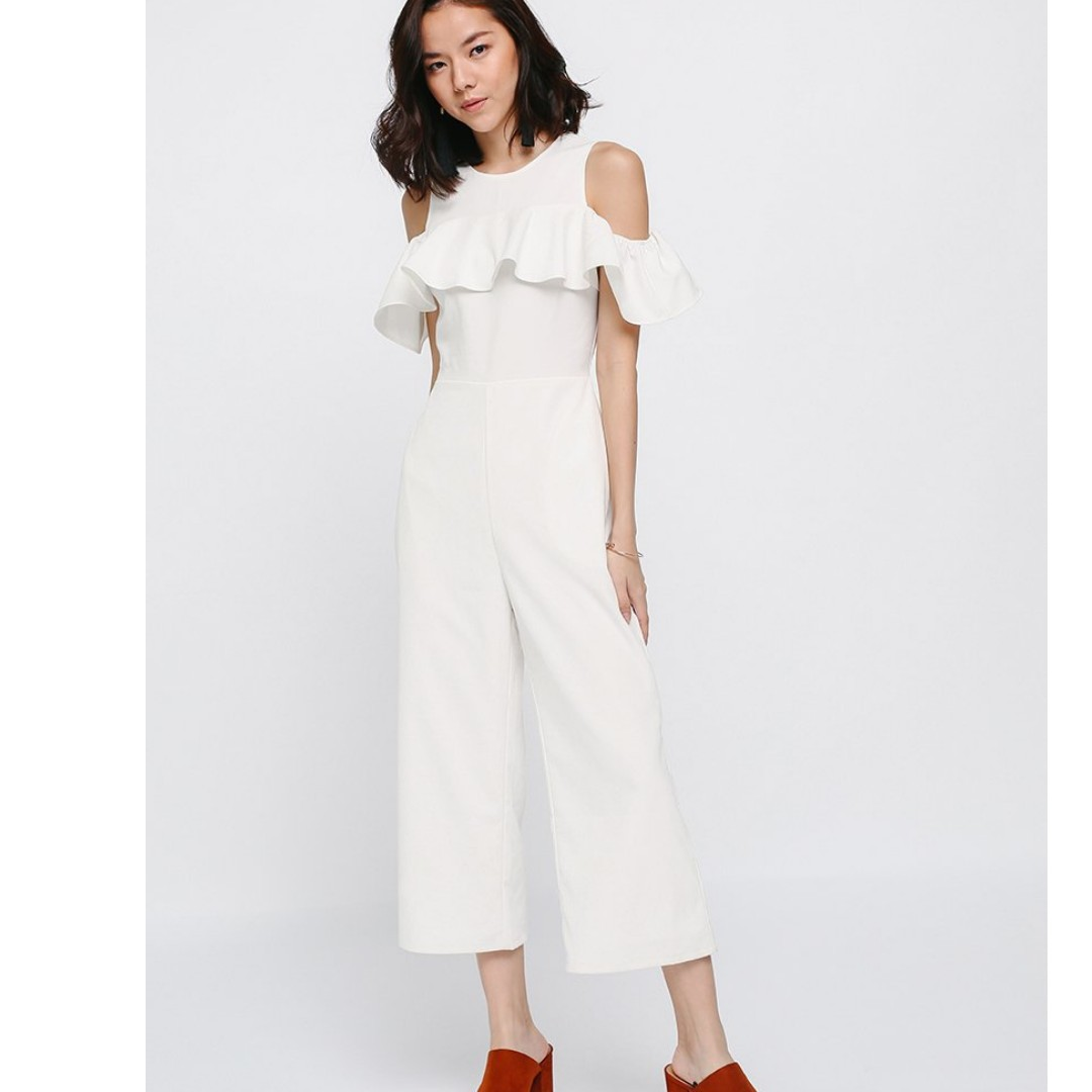 1735c396793 Jaldyn Ruffle Off Shoulder Jumpsuit White XL Love Bonito love bonito ...