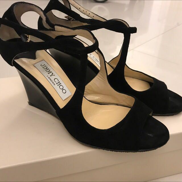 Jimmy Choo 黑色麂皮涼鞋