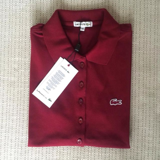 6f9328b6bfb5a Lacoste 5 Buttons Polo Shirt Maroon, Women s Fashion, Clothes on Carousell