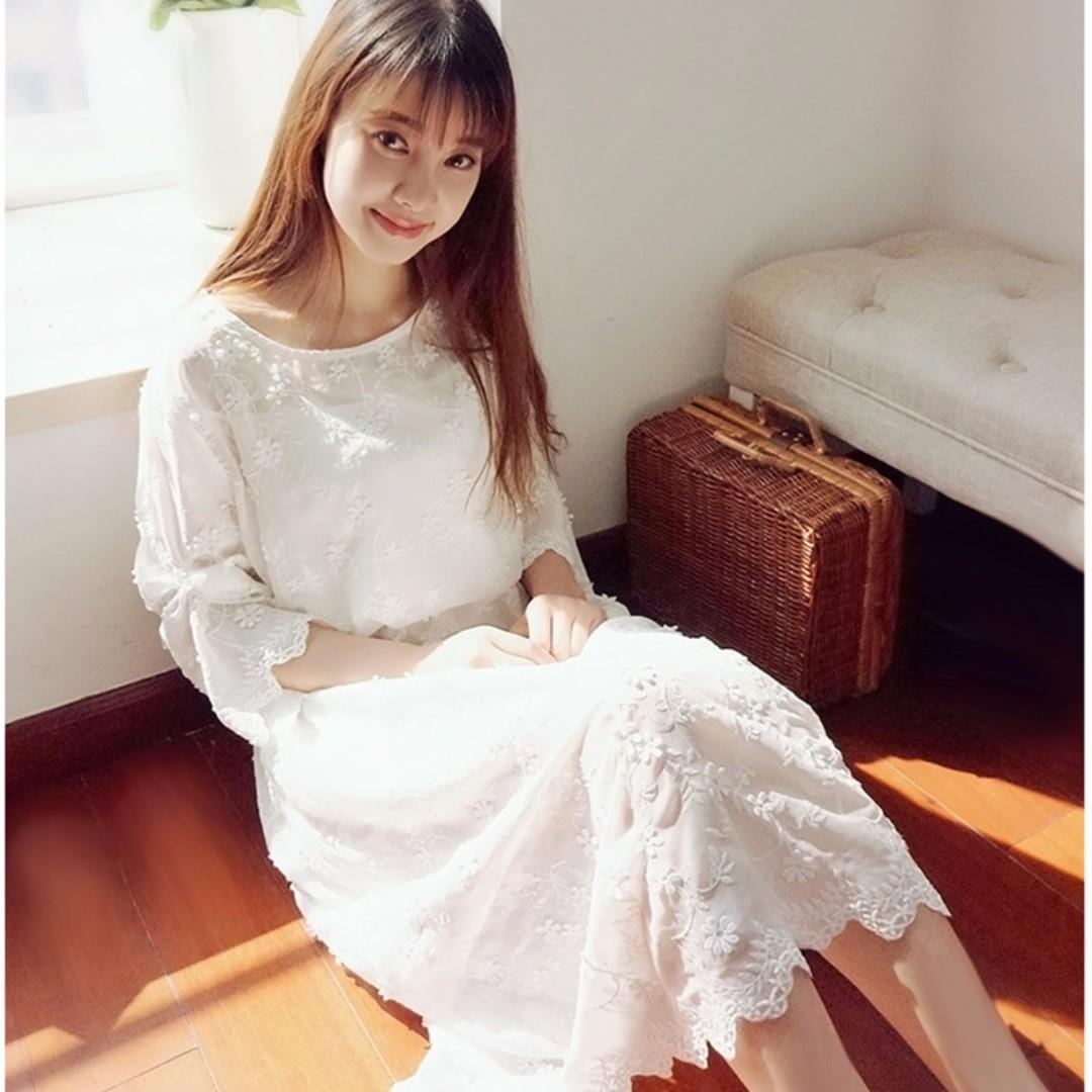 ❤LaLaNiCo❤夏季浪漫雪紡花朵刺繡飄逸長裙