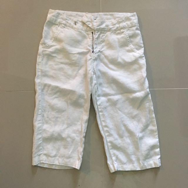 Linen Short Pants In Off White