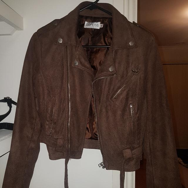 Lioness Brown Faux Suede Biker Style Jacket Size Small