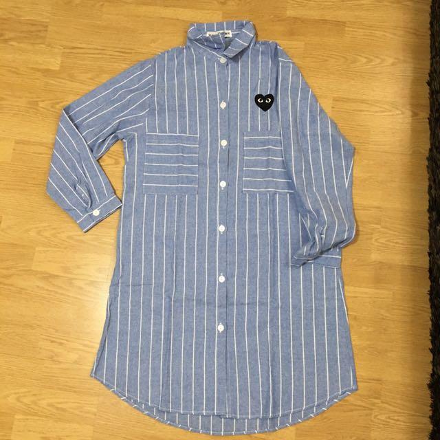 Long Sleeved Shirt Dress Cdg Inspired