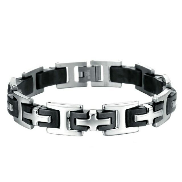 Men's Stainless Steel and Cross Bracelets