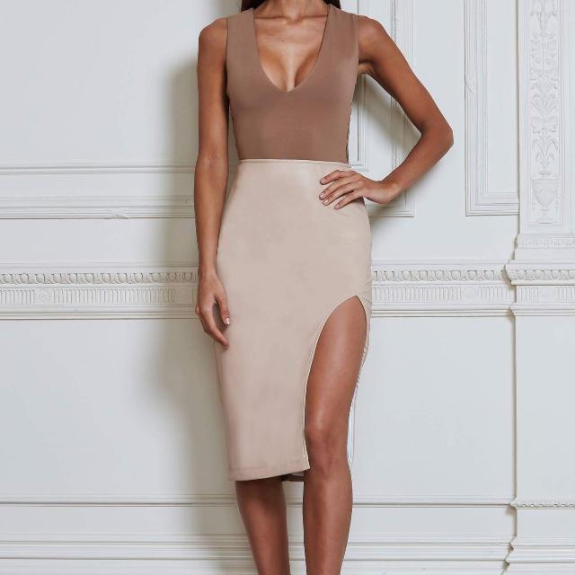 Meshki Cream Leather Slit Midi Skirt Sz Small