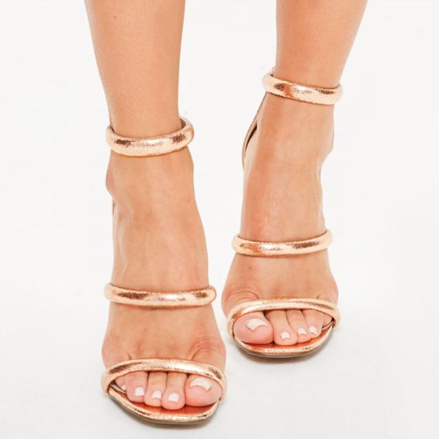 Missguided Rose Gold 3-Strap Heels