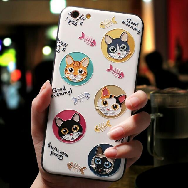 現貨!OPPO R9 Plus 可愛貓咪立體浮雕全包邊手機殼