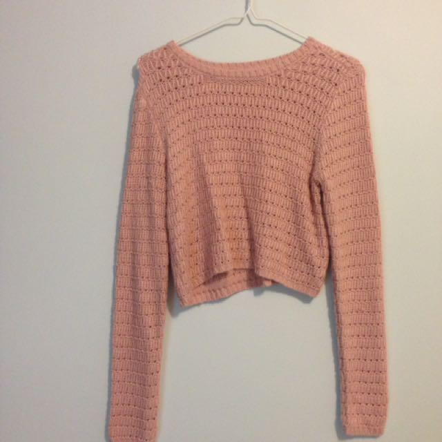 Pink Knit Crop Sweater