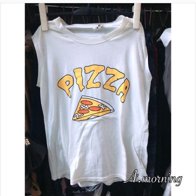 可愛Pizza背心-白