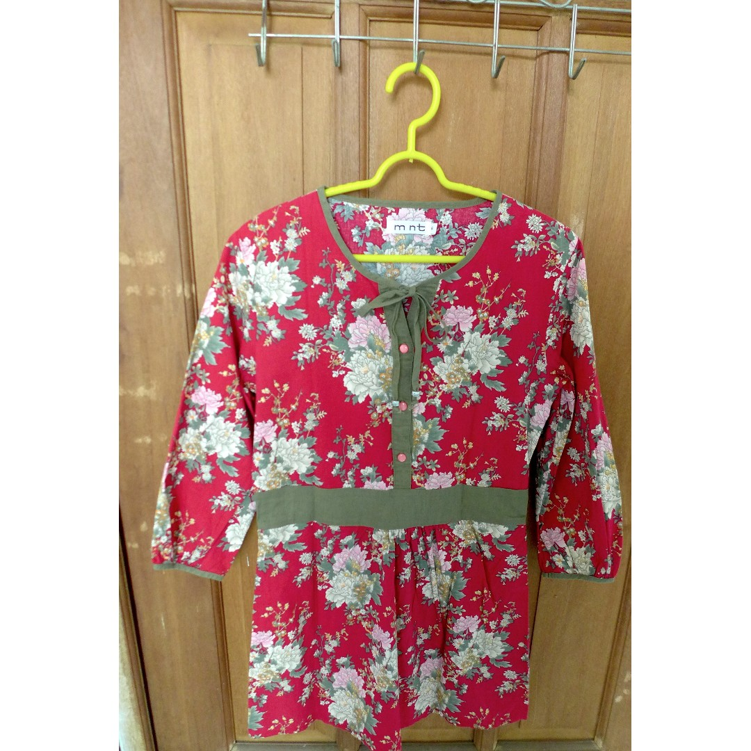 Red Flowery Blouse (mint)