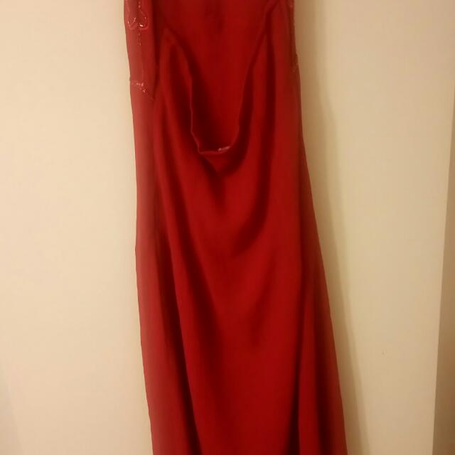 Red Sequins Dress with side Zipper