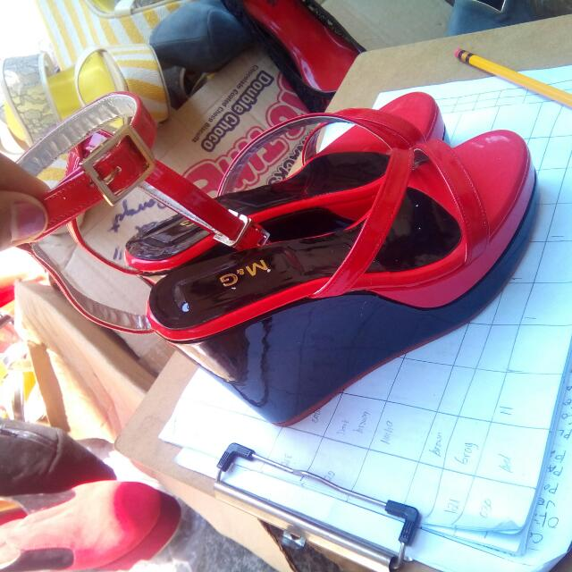 Red Wedge Ankle Strap