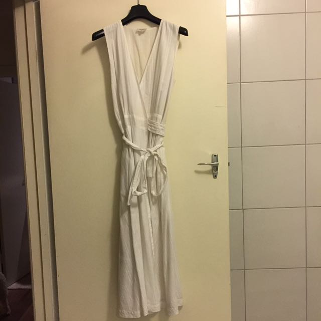 SEED White Linen Maxi Dress S8