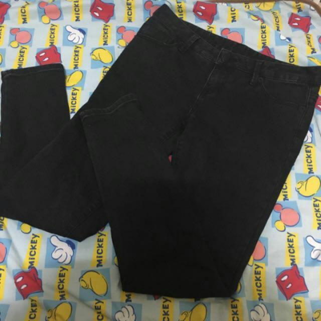 Spao純黑牛仔褲 長褲 窄管褲