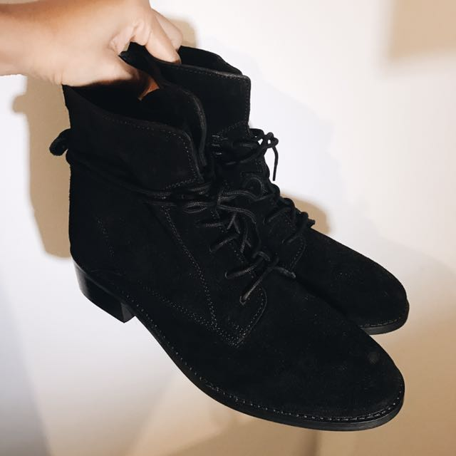 Suede Look Black Boots