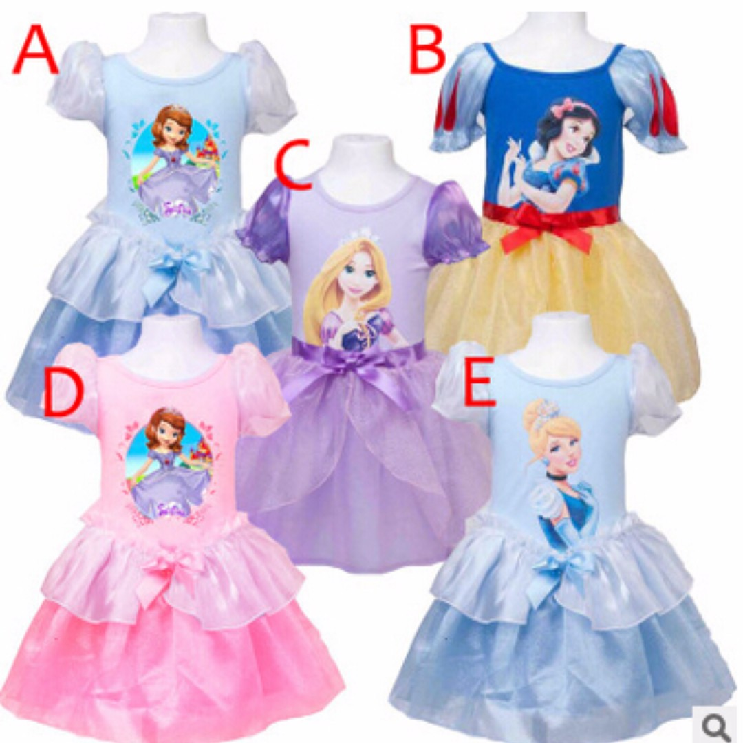 88157fc039b8 Super Sweet Disney Princess INSPIRED Puffy Short Sleeves Dresses 5 Designs  for Child Children Girls Toddlers - Sophia the First Rapunzel Tangled Snow  White ...