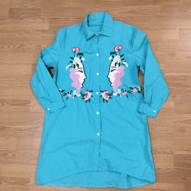 Teal Embroidered Shirt Dress