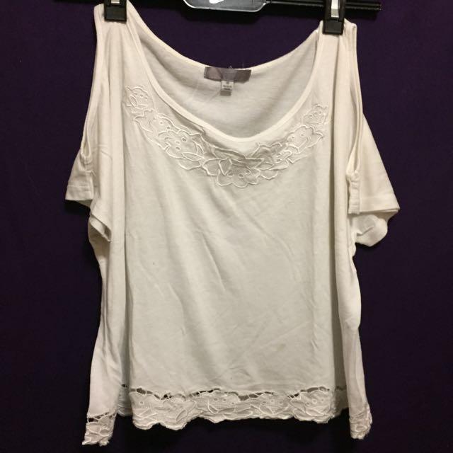 Temt White Cold Shoulder Shirt