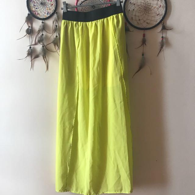 TERRANOVA - Yellow Maxi Skirt w/ Slits