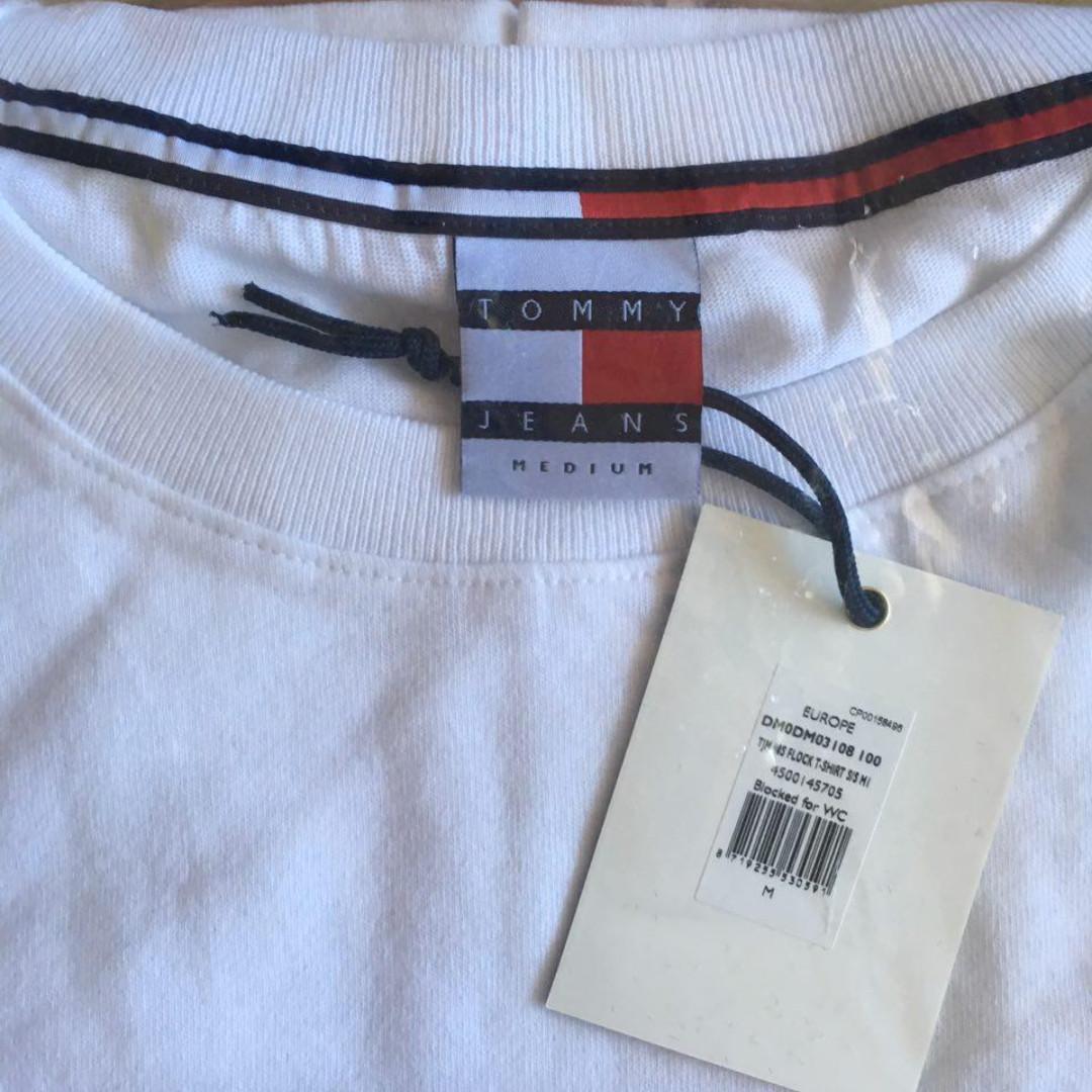 af5c64ecb4 Tommy Jeans 90s Flock Logo T Shirt M1 In White | Saddha