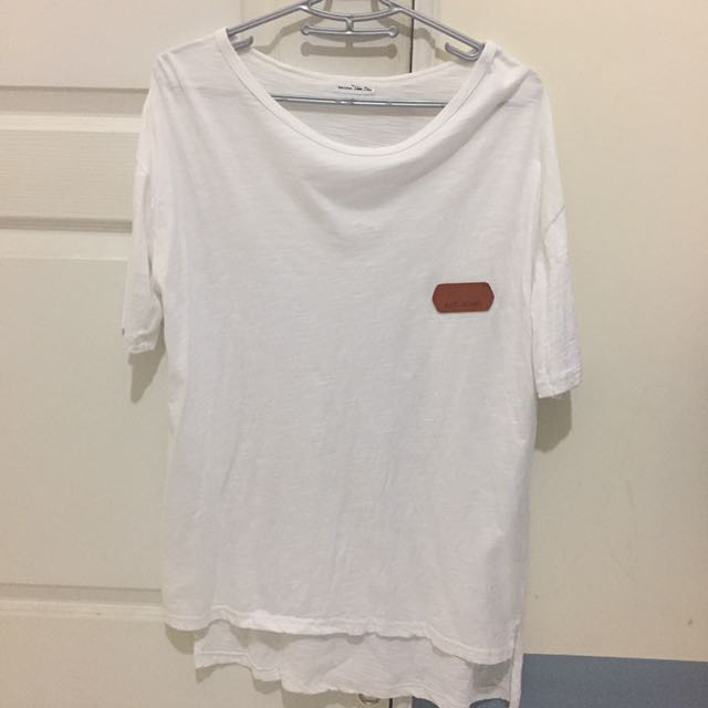 超寬鬆素面長版T-shirt-前短後長