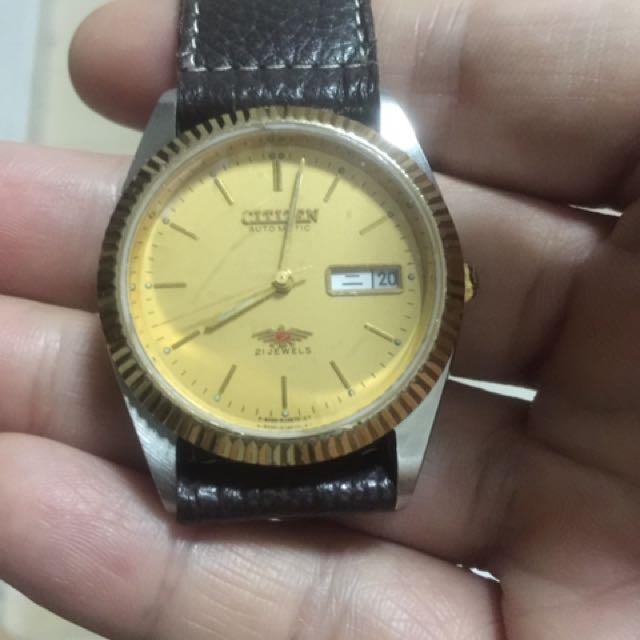 Vintage Automatic Citizen Wit 21 Jewels Wit Golf Plated Bazel Watch,wat Y C Wat U Get,tks My Friend