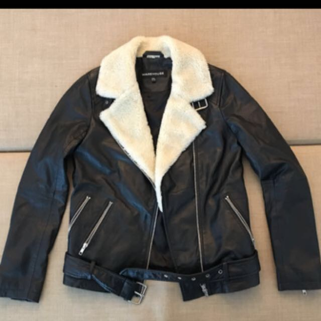 WAREHOUSE Leather/shearling Jacket Sz 8
