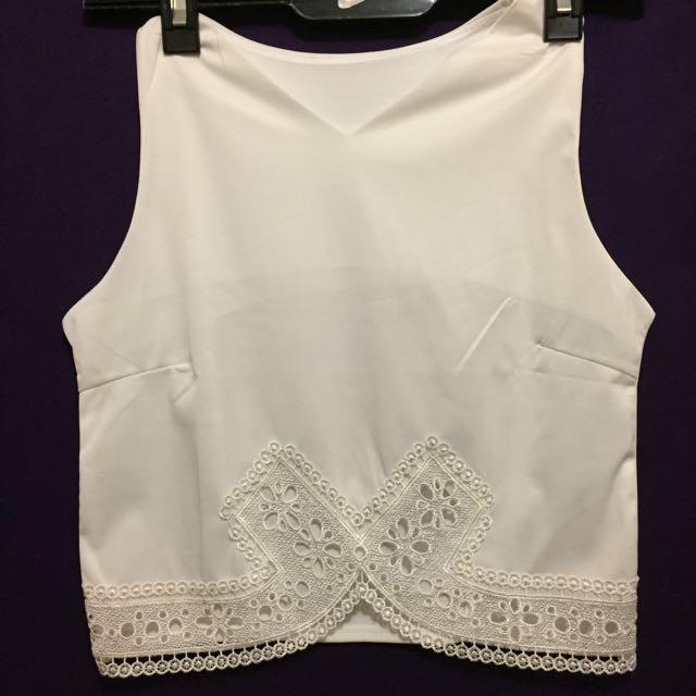 White Crop Lace Detail Size 8