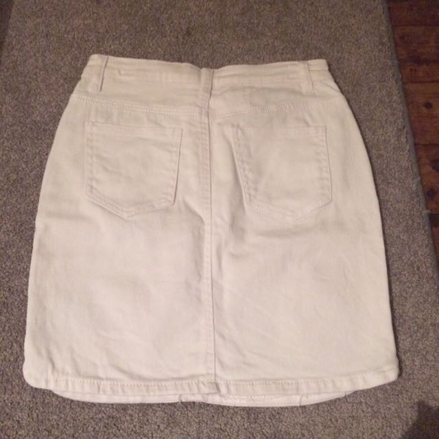 White Denim Skirt Size 8