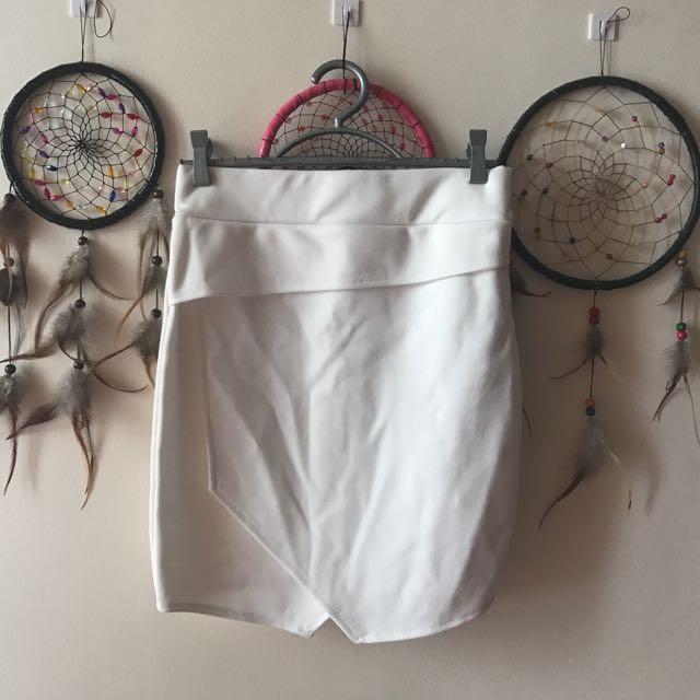 White Origami Body-con Skirt