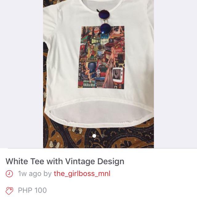 White Vintage Design Tee