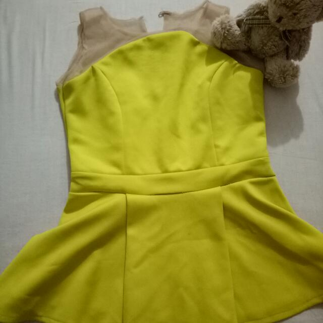 Yellow  Peplum Blouse With Tile