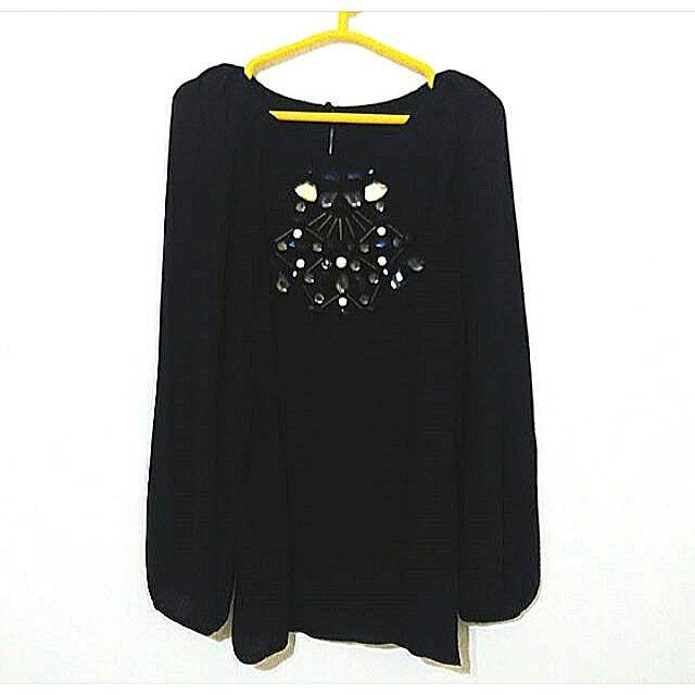 ZARA Black Embellished Top