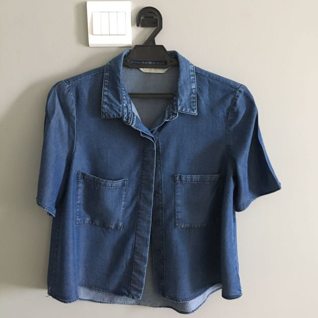 Zara Denim Flowy Shirt Blouse Top Loose Fit Blue