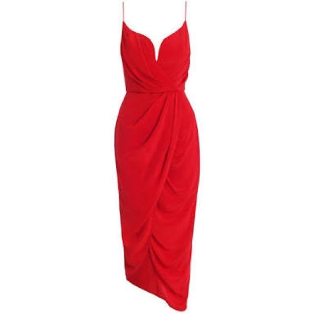 Zimmermann Silk Plunge Dress Red - Size 1