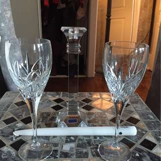 waterford crystal goblets and candle holder