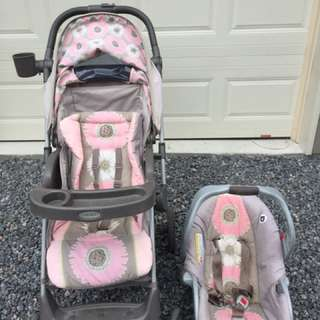 Stroller/car Seat Travel System And Play Pen & Big Box Of Babygirl Clothes !!