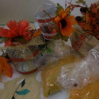 Autumn Decorations Flowers And Candle Holders