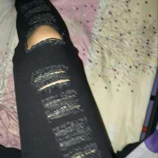 Black Tatthered Pants