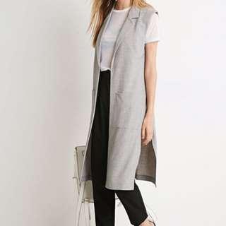F21 Longline Collared Grey Vest