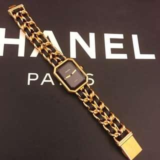 保證正品 S號 CHANEL 香奈兒 首映系列Premiere 金色皮穿鍊手錶