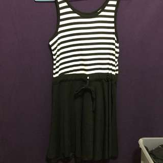 Black And White Striped Drawstring Cotton Dress