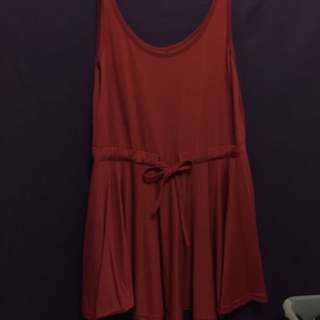 Maroon Drawstring Cotton Dress
