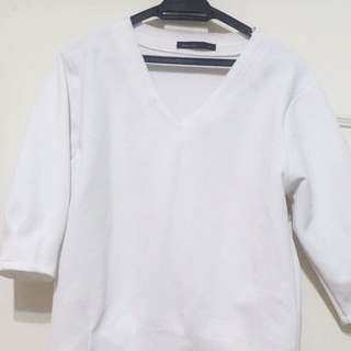 A'Lady白色太空棉五分袖上衣